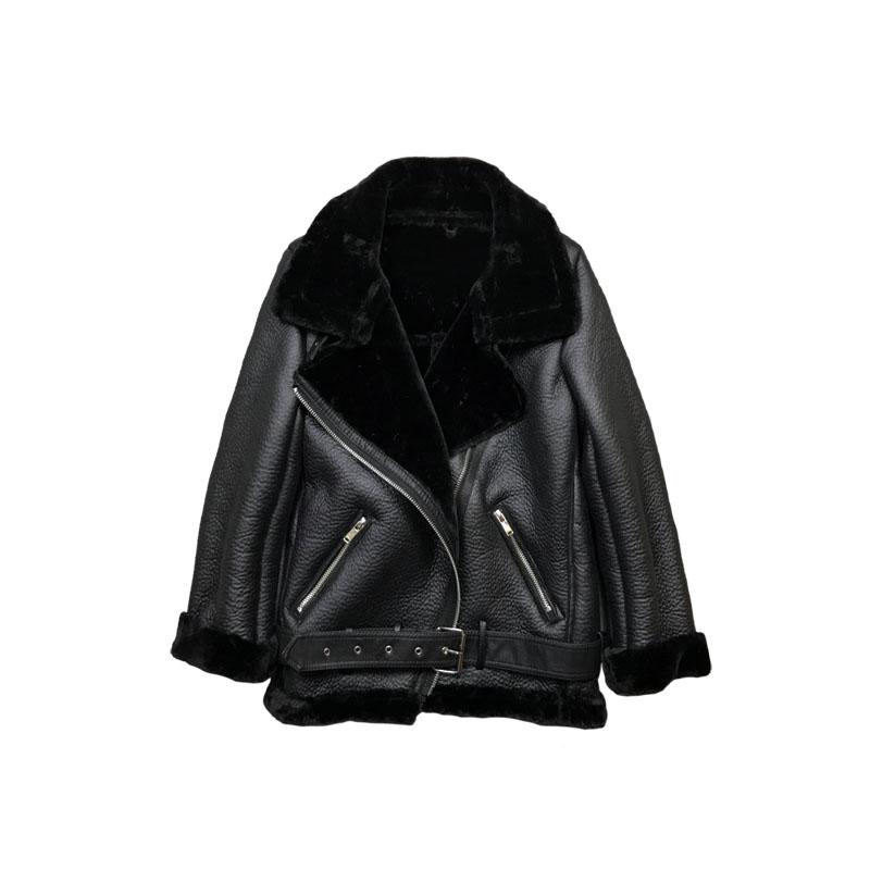 Cuir Grand Faux Noir red Laine Épaissir Manteau Femmes En De Polaire Col Outwear Chaud Black Veste green D'hiver Tops Agneau Fourrure q101t