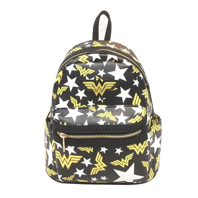e62251eacb74 Anime Wonder Woman Super Girl Backpack for Teenager Star Wars Batman  Deadpool Marvel DC Avengers Leather Schoolbag Kids Mini Bag