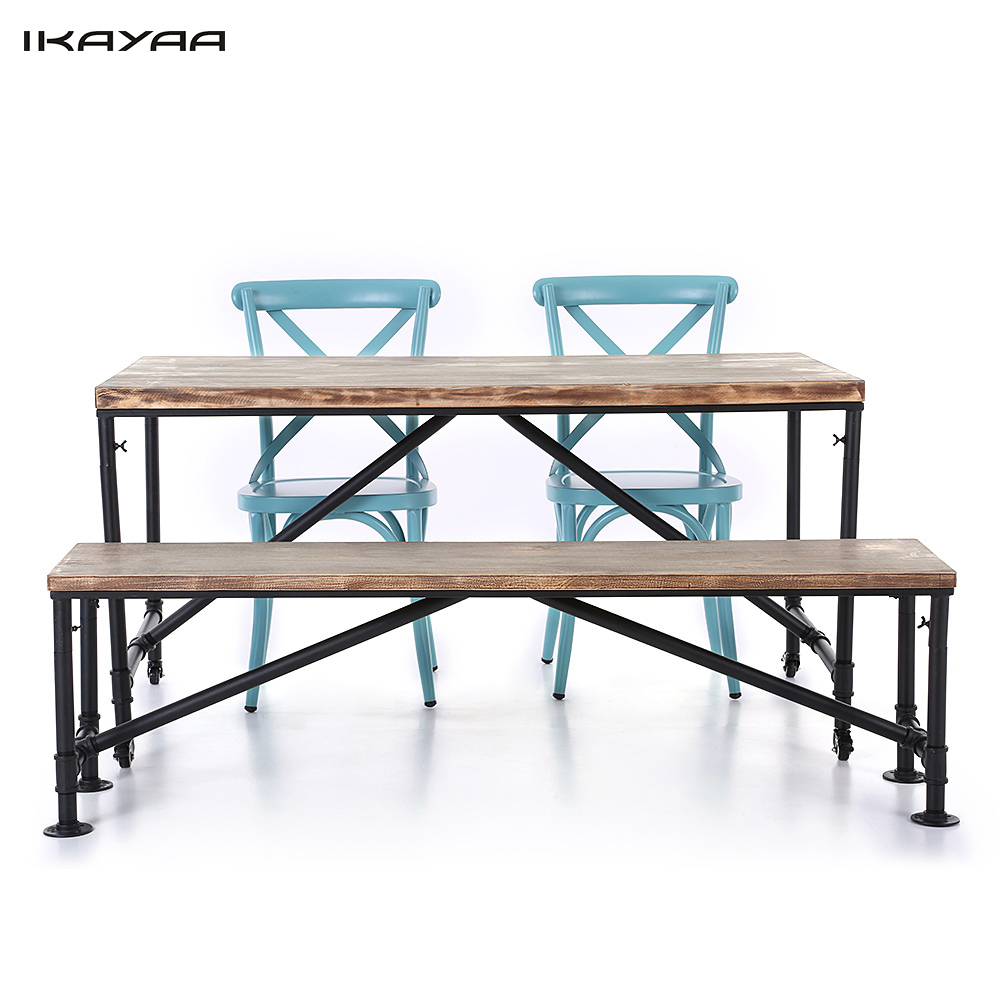 IKayaa US Stock 4PCS Industrial Style Pinewood Top Kitchen Dining Breakfast Table Bench 2