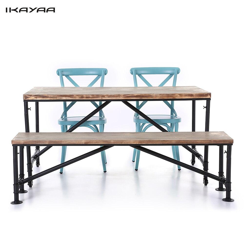 iKayaa US Stock 4PCS font b Industrial b font Style Pinewood Top font b Kitchen b
