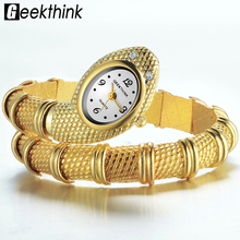 GEEKTHINK 2017 Brand Unique Design Snake Shaped Bracelet Style Watch Woman fashion ladies Diamond Ornaments Gfit