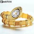 GEEKTHINK 2017 Marca Design Exclusivo Em Forma de Serpente Pulseira Relógio Estilo Mulher moda senhoras Diamante Ornamentos Gfit assista Casual