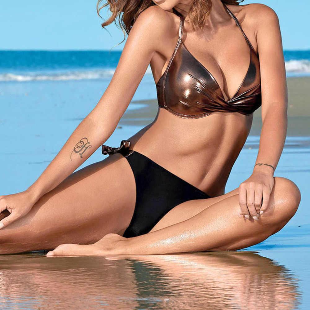 Фантастический женский купальник, расшитый блестками, из кусков, купальник, пляжный, пуш-ап, комплект бикини, бразильский купальник, сексуальный, привлекательный, женские купальники