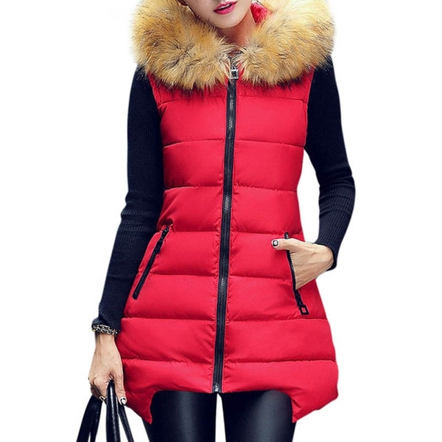 New 2016 Fashion Casual Women Winter Vest Waistcoat Long Vest Sleeveless Coat Faux Fur Collar Hooded Down Cotton Warm Vest Z2326
