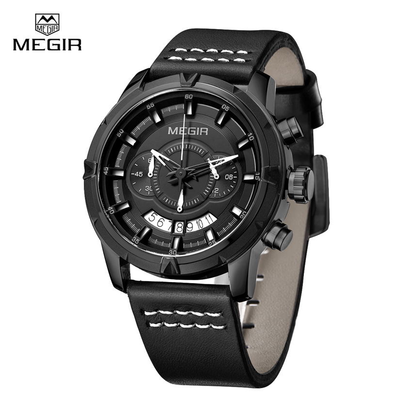 Megir Mens Watches Top Brand Luxury Army Military Quartz Watch Waterproof Chronograph Sport Wristwatch Clock reloj hombre megir sport mens watches top brand luxury male leather waterproof chronograph quartz military wrist watch men clock saat 2017