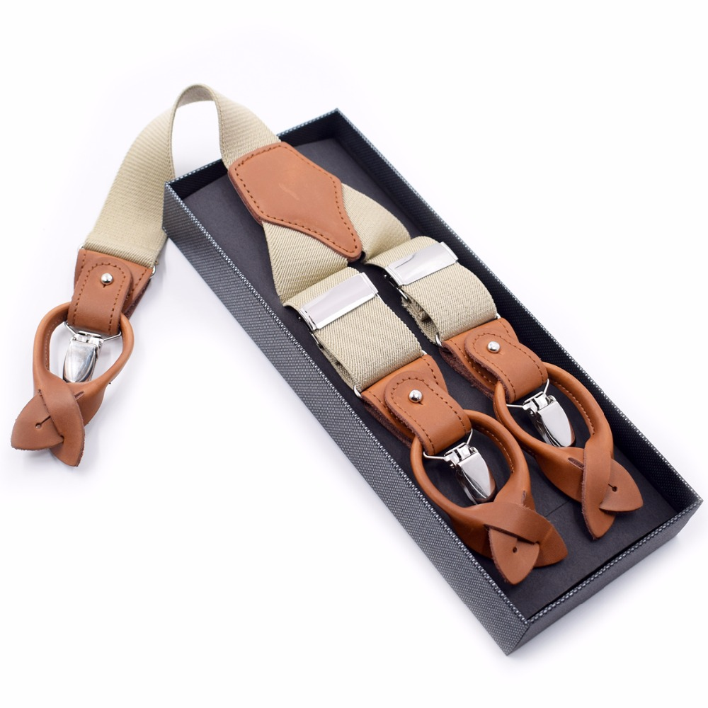 European Style Adult 6 Clips Button Mens Strap Leather Trousers Solid Color Suspenders High Quality Mens Braces