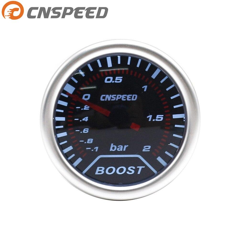 Livraison gratuite CNSPEED Boost gauge 2 (52mm) fumée objectif Turbo Boost gauge gauge (-1 ~ 2 Bar) /auto jauge de voiture/voiture mètre YC101225
