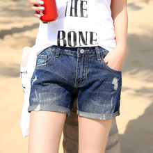 The new female denim shorts jeans female low-waist shorts 2016 women's jeans female Korean hole denim shorts curling 9906-16