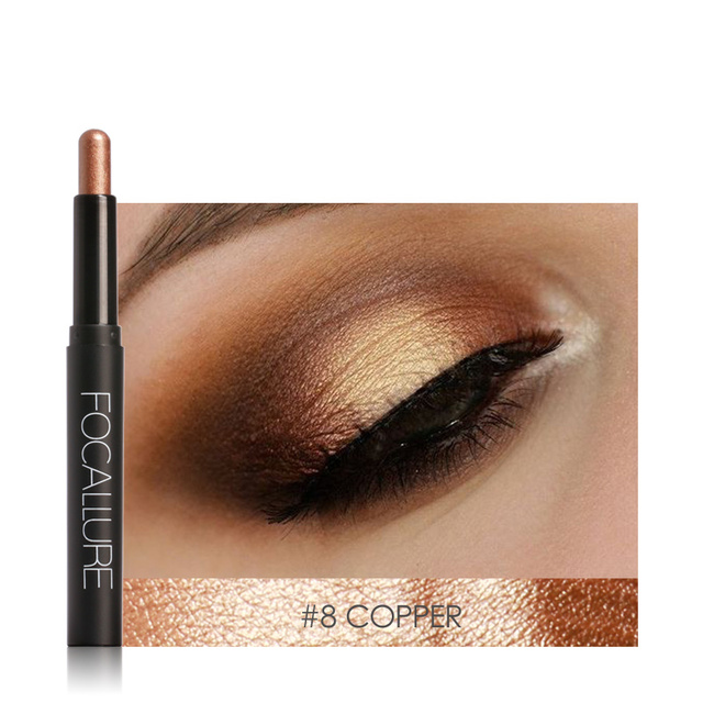 2019 New FOCALLURE Brand Glitter Eyeshadow Stick Golden Luminous 12 Colors Eye Shadow pencil Eyes Cream Pen shimmer eyeshadow 2