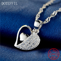 18 Inch Chain 925 Sterling Silver Women Necklace Charming Heart To Heart Pendant Necklace AAA Zircon