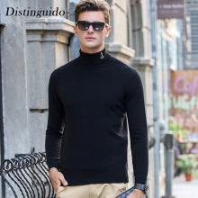 Spring Winter Turn-Down Collar Long Sleeves Solid Color Man Sweater Pullovers 100% Wool Knitting Smart Casual MSW053
