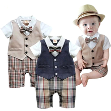 Baby Boy Romper Baby College Waistcoat Clothes Bebes Infant Gentleman Rompers Summer Toddler Vest Jumpsuit Newborn Boys Clothing