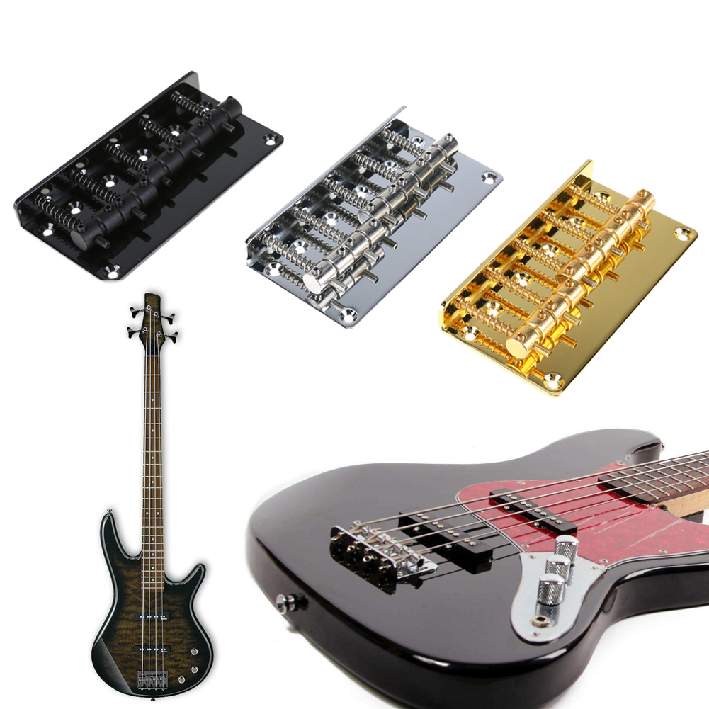 Glod/Sliver/Black Metal 5 String Saddle Bridge for 5 String Electric Bass With Black Screw Strings For Bass Guitar Replacement a set chrome vintage shape saddle bridge for 5 string electric bass guitar top load or strings through body