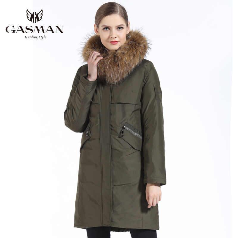 GASMAN 2019 新秋冬コレクションの女性のパーカーフード付き暖かいのジャケットパーカーパッド入りコート冬の自然毛皮の襟アライグマ