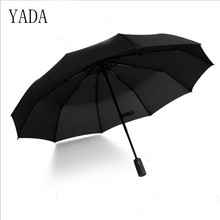 YADA 10 Bones Pure color High Quality Brand Umbrella Rain Women Automatic For Womens Windproof Folding Umbrellas YS095