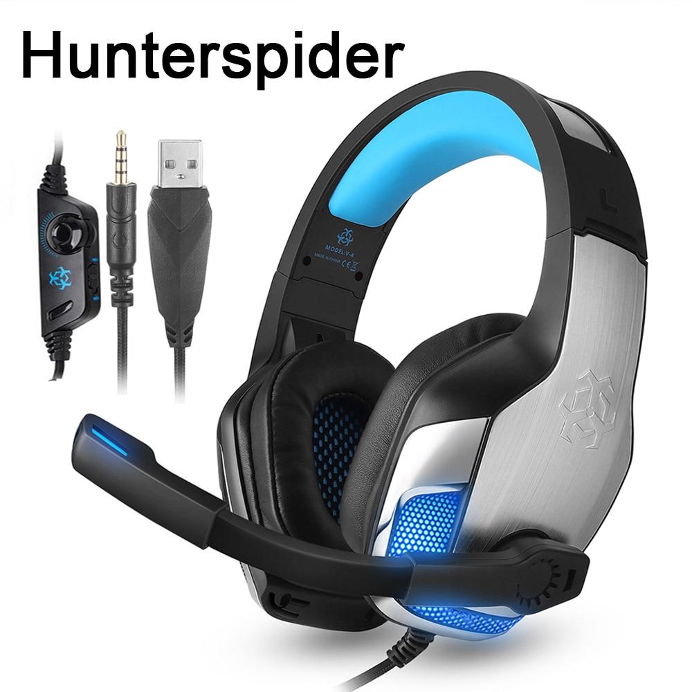 Hunterspider V4 PS4 Gaming Headset Com Fio de Ouvido Sobre a Orelha Fones de Ouvido Estéreo com Microfone para Xbox One/Laptop Tablet/Nintendo jogos interruptor