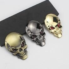 цена на Halloween 3D Metal Skull Car Sticker Cool Motorcycle Truck Emblem Decals Racing Badge Auto Decoration Car Styling Accessories