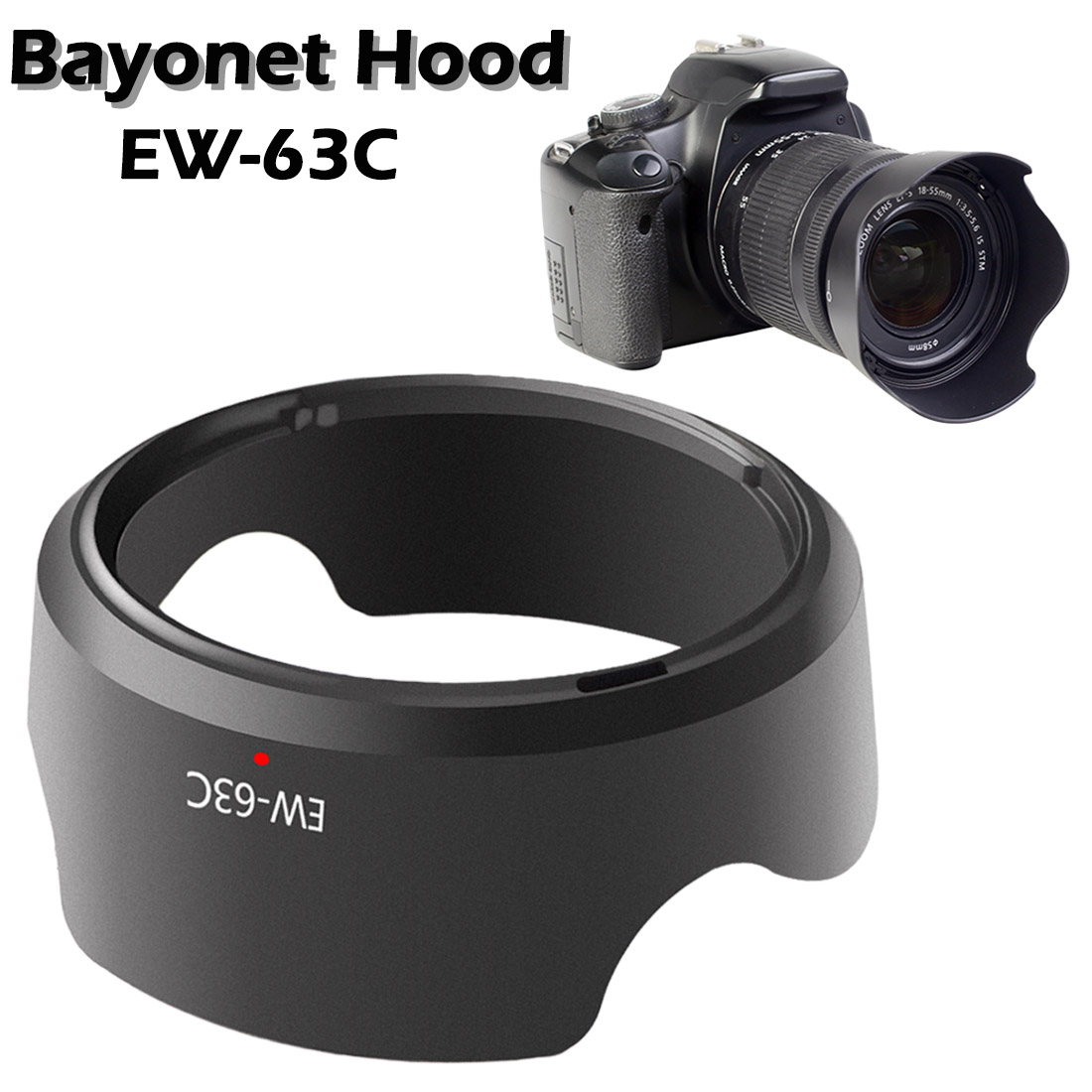 Universal EW-63C Camera Lens Hood For Canon EF-S 18-55mm F/3.5-5.6 IS 58mm Screw-in Tulip Flower Filter Thread Camera Lens Hood