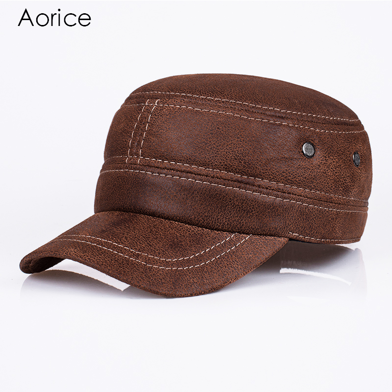 Aorice New Genuine Leather Baseball Cap Mens Hats And Caps Leisure Fashion Solid Color Brown Black Dad hat Quality Brand HL019 aorice winter genuine sheepskin leather hat brand new men s warm earmuffs hat man baseball caps leisure fashion brand hats hl030