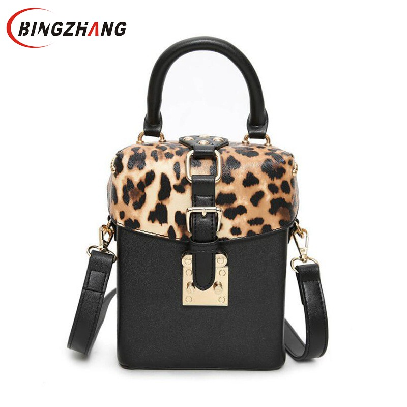 2018 New Children Leopard printing small box package rivets box handbag shoulder bag Women Messenger bag tide package L4-3182 japanese pouch small hand carry green canvas heat preservation lunch box bag for men and women shopping mama bag