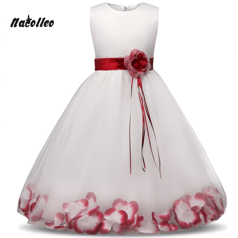 2017 New Princess Dress 6 colors Girls Party Wear Petals Evening Gown Children's Costume In Girl Clothing Kids Wedding Party
