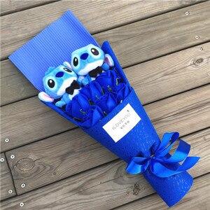 Image 5 - Drop shipping Cartoon Lilo Stitch pluszowa lalka zabawki śliczne Lilo Stich pluszowy bukiet z sztuczny kwiat wesele prezent bez pudełka