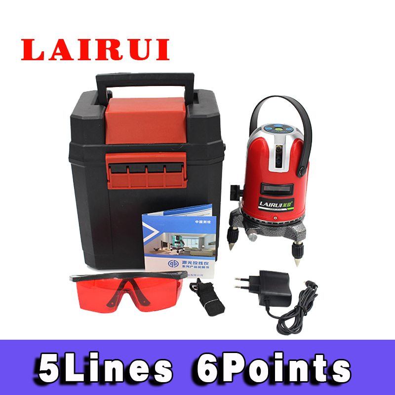 Lairui 5 Lines 6 Points Laser Level Tilt Function 360 Rotary Self Lleveling Outdoor EU 635nm