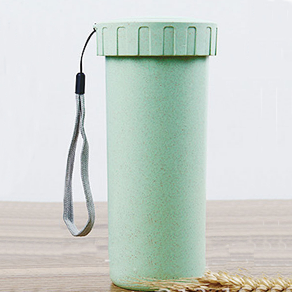 Portable With Cup Leakproof Unbreakable Travel Yoga Water Cup Running Camping wheat straw+PP Water Cup