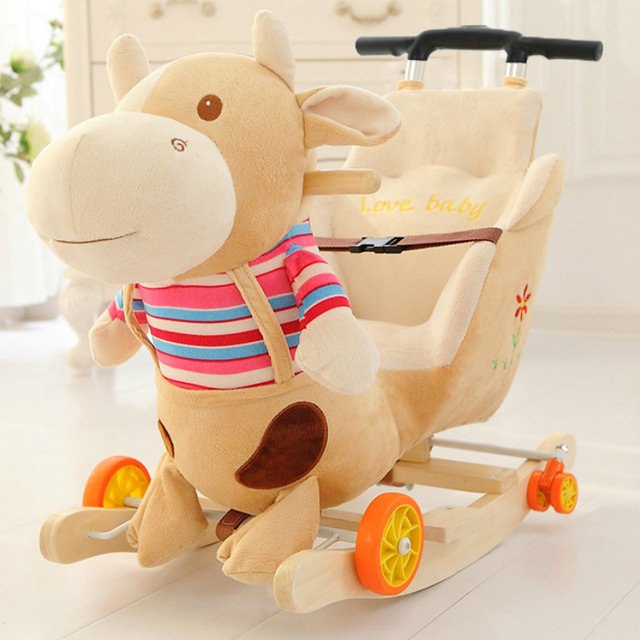 Children Rocking Chairs Baby Rocking Horse Ride on Animal Toys Dual-purpose with Music Baby Bouncer Wheel Chair Stroller 5M~4Y 4