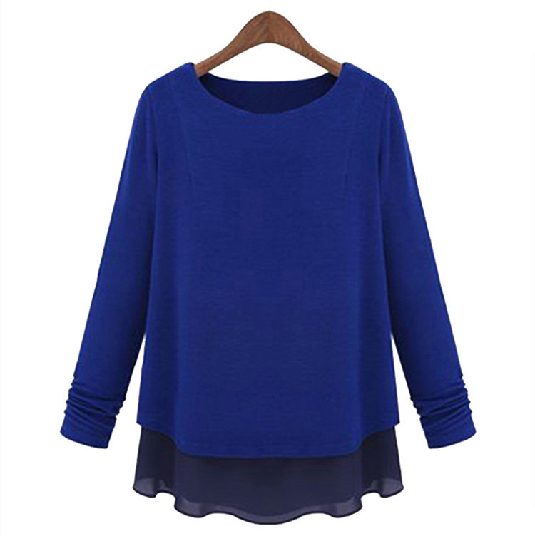 Plus Size 5XL Women Blouse Long Sleeves Loose Fat Big Size blusa feminina Tops Cotton Splice