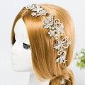 Frete grátis! Strass Noivas Cabelo Videira Cristais Pérolas Casamento Coroa Tiara Pente Headpiece Y1001-1023