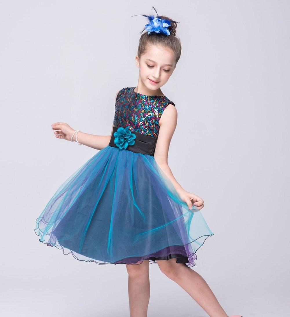 Nicoevaropa Flower Girls Dresses Kids Sleeveless Sequinned Bodice ...