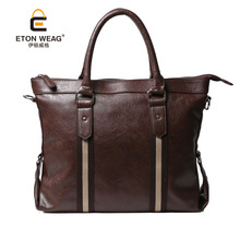 ETONWEAG New 2017 men brands Italian leather brown fashion business style bag korean bags luxury briefcases vintage laptop bags