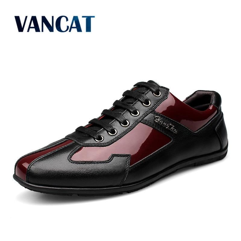 VANCAT marque de luxe mode en cuir véritable hommes chaussures en cuir hommes chaussures décontractées de haute qualité grande taille 37-48 chaussures plates pour hommes