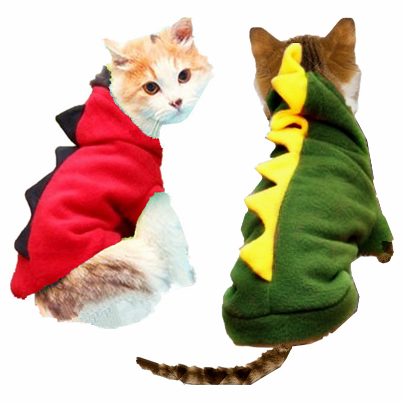 Warm Winter Cat Costume Puppy Clothes Pet Dragon Dressing Up Clothes Dinasour Coat Jacket