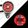 Vintage Silver Housing Red Face Mechanical 0-140KMH Stainless odometer speedometer + 4 ADDITIONAL FEATURES LED Indicator Lights