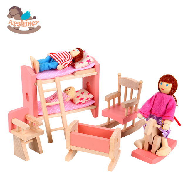 Attractive Arshiner Wooden Dolls House Furniture Miniature Children Kid Room Bedroom  Toys Toy Girls Room Model Building