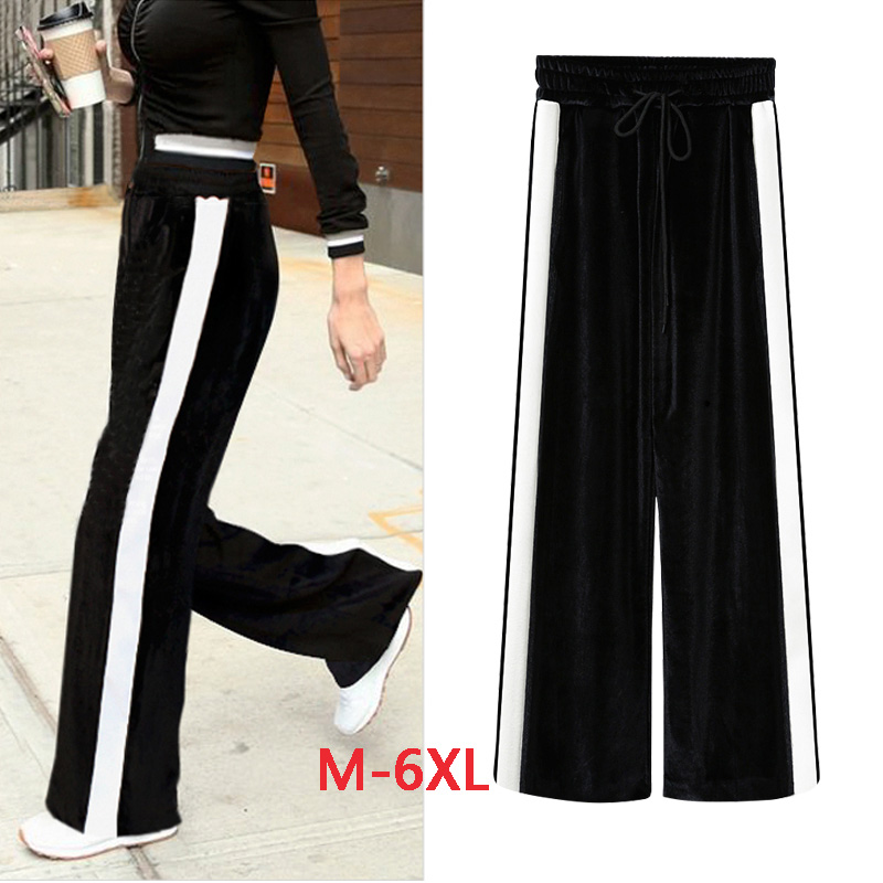 Fashion Loose Directly White Ribbon Elastic Waist Pants 2018 Spring New Arrival Casual Wide Leg Black Pants Hot Sale B83815f Pants & Capris Bottoms