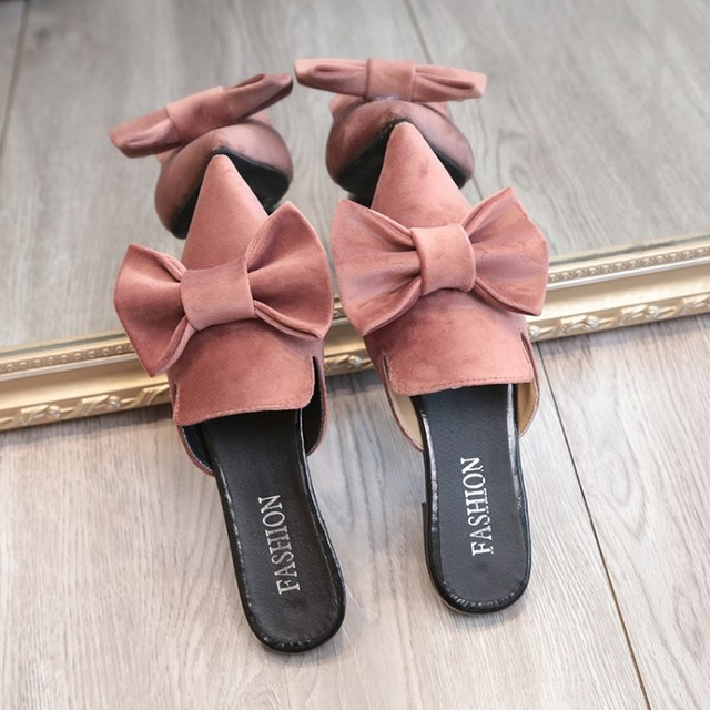 83f5d3950e206 US $11.83 30% OFF|Girls sweet pink bow flip flops pointed toe ladies  slippers big bow sandals woman slippers summer velvet design luxury  flipflops-in ...