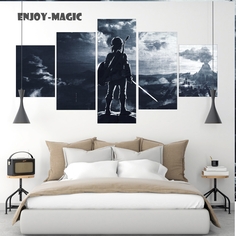 Home Decor Breath of The Wild Wall Art Canva No Frame Poster Modern 5 Pieces Oil Painting Animal Picture Panel HD Print  A-014