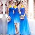 Romantic Long Blue Bridesmaid Dresses Under 100 Pleat Chiffon Sweetheart Cute Bridesmaid Dress Empire Wedding Party Dresses B48