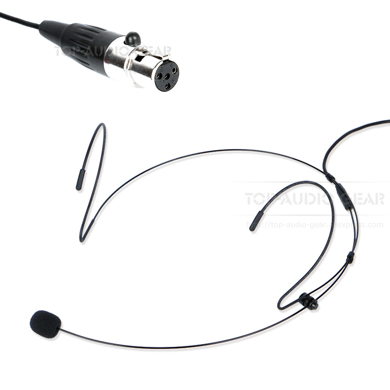free shipping 4 pins connector head mounted headset headworn earhook microphone for shure kcx1