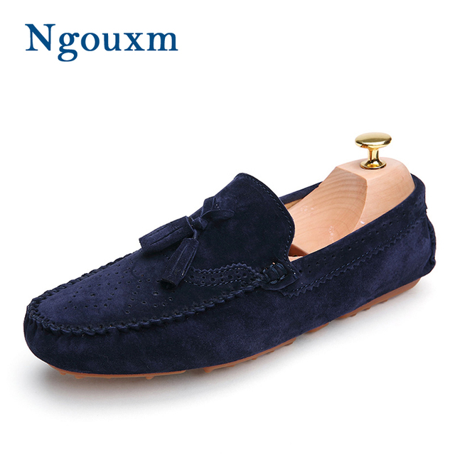 93e4736519b79 Mocasines de hombre Ngouxm azul marino mocasines de cuero genuino Slip On  Men s Tassel zapatos casuales