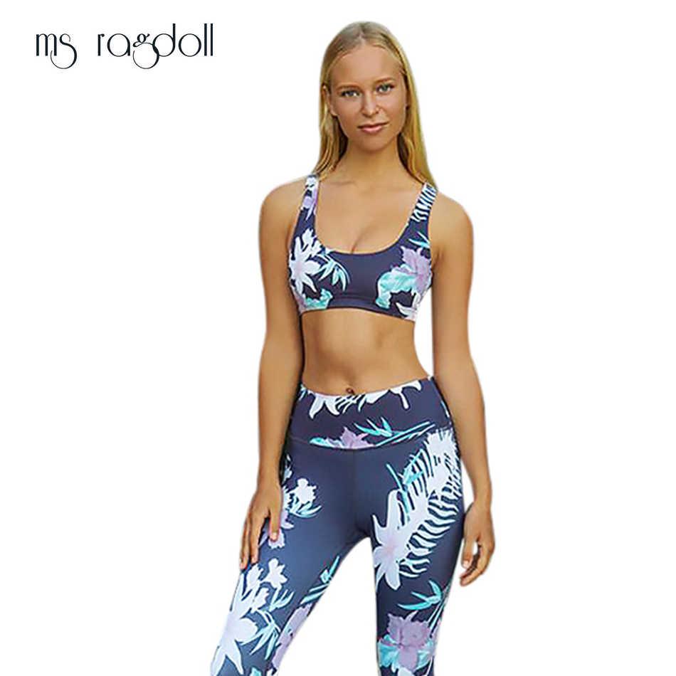 a98c8e6c12ea6b Women Sport Suit Fitness Two-Piece Set 2018 Summer Sports Colthing Yoga  Pants Workout Leggings