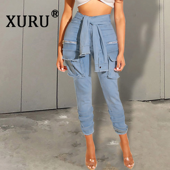 XURU New Womens Washed Jeans Hot Sexy Nightclub Fake Tie Button