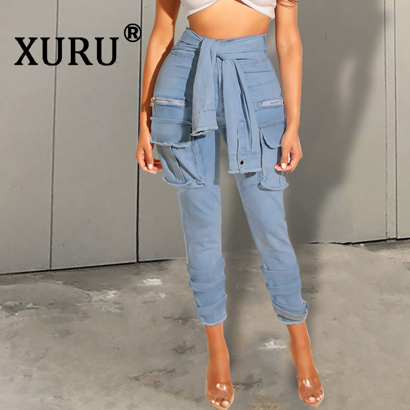 XURU New Women's Washed Jeans Hot Sexy Nightclub Jeans Fake Tie Fashion Button Jeans