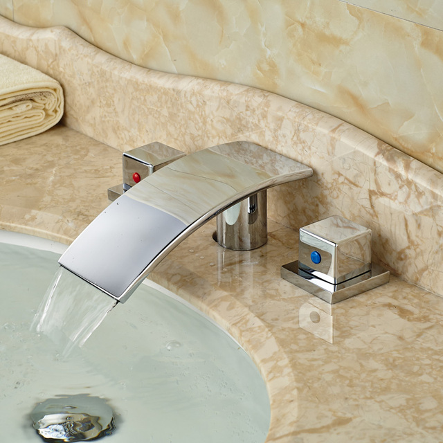 Deck Mount Old Fashioned Bathroom Faucets Dual Handle Basin Sink Mixer Tap With Hot Cold Water