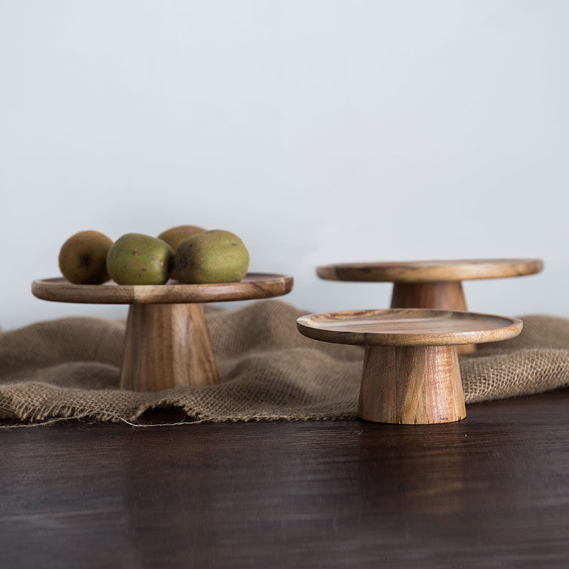 Japan Style High Stand Wooden Cake Plate Creative Food Serving Trays Multi-Use Eco Naural Wood Desserts/Fruits Tray Home DecorJapan Style High Stand Wooden Cake Plate Creative Food Serving Trays Multi-Use Eco Naural Wood Desserts/Fruits Tray Home Decor