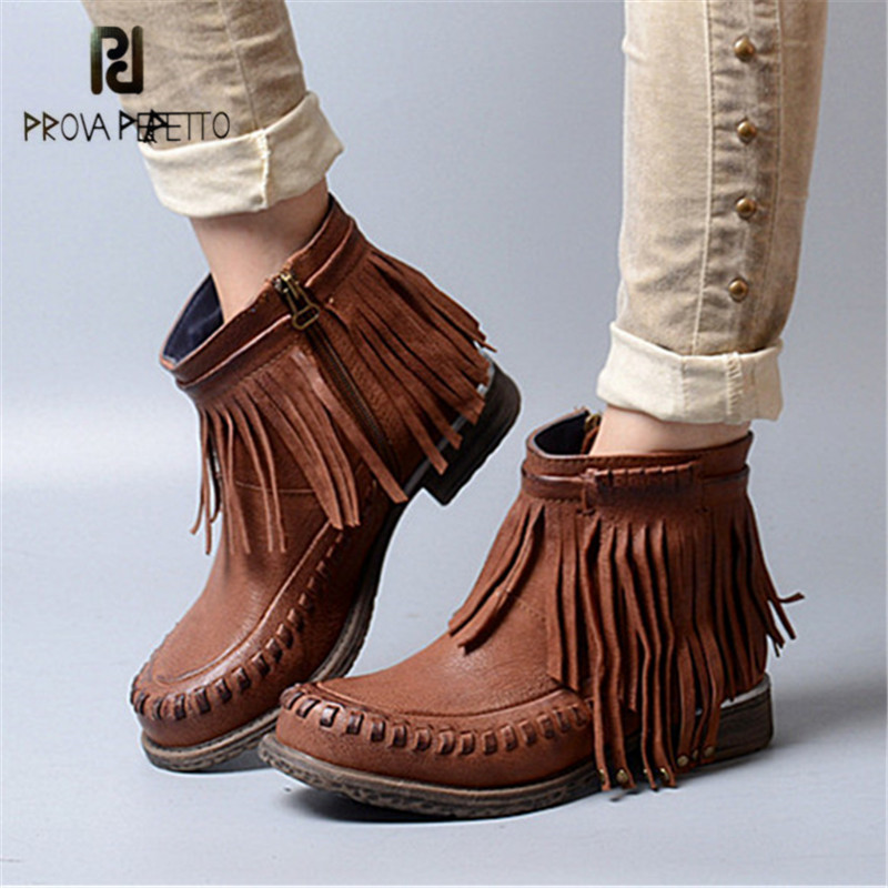 Prova Perfetto Retro Fringed Ankle Boots for Women Casual Flat Shoes Woman Rubber Short Botas Mujer Women Boots Platform кисть плоская lasur standard смешанная щетина 20мм stayer 01031 20