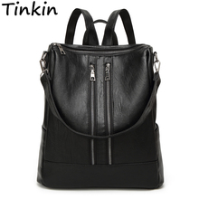 Tinkin New Arrival Spring Women Backpack Simple Casual School Bag Medium Size Leather Backpack Girl's Daily Bag